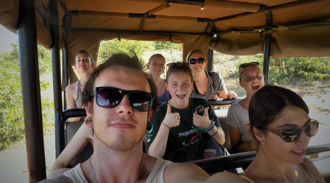 Group of volunteers travelling to their conservation project destination